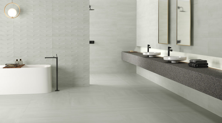 keraben elven blanco concept blanco 30x90 blanco 75x75 Badezimmer